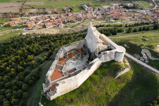 Aerial view of the ruins of an ancient medieval castle in Castrojeriz, Burgos, Spain.