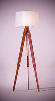Vintage floor lamp standing on soft colored background. 3D illustration