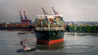 Container ship in the Port of Hamburg