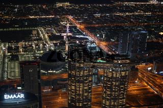 Dubai night view seen from the observation deck of Burj Khalifa