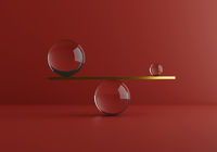 Balancing minimal shapes, gold and glass materials. Comparison of weight. Zen concept. 3d render
