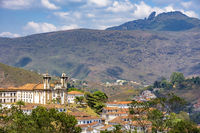 Top view of historic church in Baroque and colonial style from the 18th century in the city of Ouro