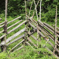 Traditional wooden fence on a farm in Estonia