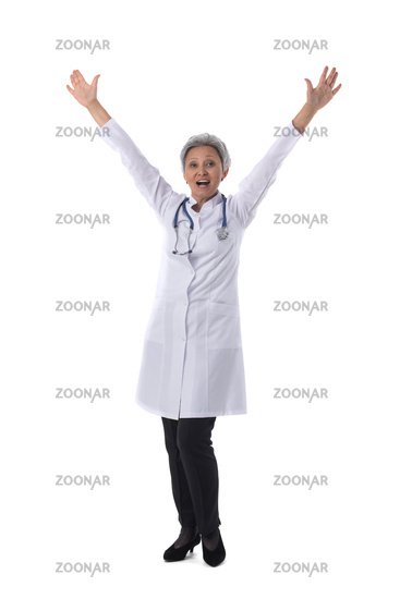 Female doctor with raised arms