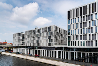 Modern office buildings in government district in Berlin Mitte against sky