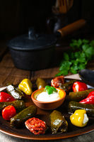 Yaprak Sarması - rustic vine leaves filled with rice