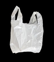 White plastic bag isolated on black background