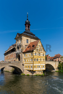 the historic town hall in Bamberg on the bridge over the Regnitz river