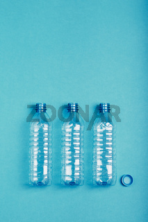 Empty plastic bottle, cup and cap collected to recycling