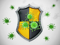 Green viruses and shield isolated on white background. 3D illustration