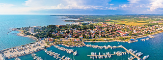 Adriatic coastline of Umag architecture aerial view