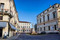 Vicenza, Italy - 03/19/2019 - piazza del castello with Garibaldi monument