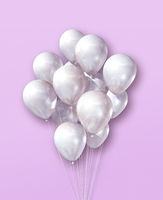 White air balloons group on a light pink background