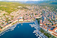 Korcula. Town of Vela Luka on Korcula island waterfront aerial view