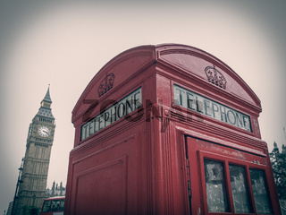 Retro look London telephone box