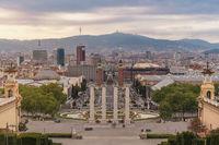 Barcelona Spain, high angle view city skyline at Barcelona Espanya Square