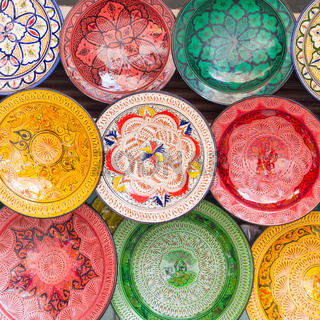 Traditional arabic colorful clay plates.
