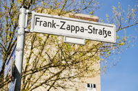 Road sign Frank Zappa Street, Berlin, Germany