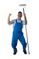 House painter with arms raised