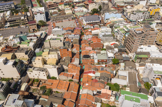 aerial view of cityscape with Lukang old street