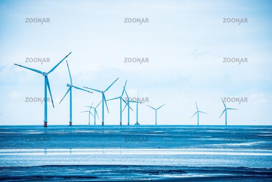 wind power farm in coastal mud flat