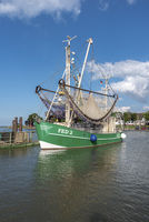 Shrimp boat in harbor of Fedderwardersiel