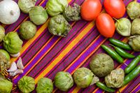 Ingredients for cooking Mexican green sauce