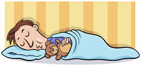 man sleeping with teddy cartoon illustration
