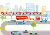 Transport by elevated train, bus and road traffic