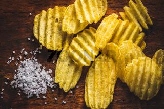 Crispy potato chips and salt.