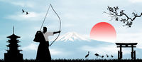 Japanese archer on the background of Mount Fuji
