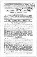 Swiss newspaper Gazette de Lausanne, first issue of January 1804. Illustration of the 19th century.