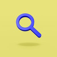 Magnifier Glass Symbol on Yellow Background