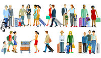 different travelers with luggage - vector illustration