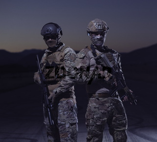 soldiers squad in night mission