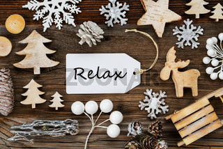 Label, Frame Of Christmas Decoration, Text Relax