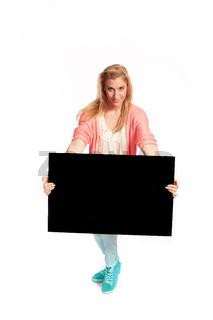 Junge Frau mit schwarzen Werbe Schild