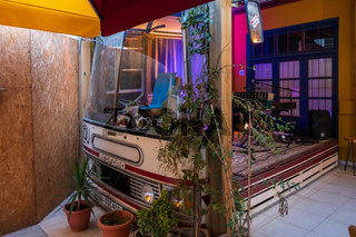View of a bus hosting a music band in the Bus Coffee Shop in the old city of NIcosia.