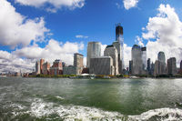A shot from a ferry looking back at Manhattan skyline.