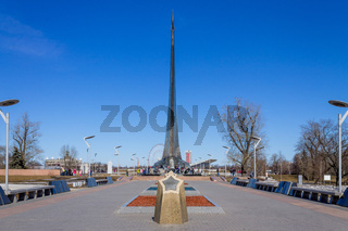 Panoramic view on Rocket Monument to the Conquerors of Space and Square with Memorial Museum of Cosmonautics in Moscow, Russia.