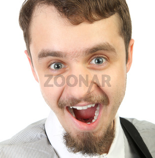 Close-up Portrait of young smiling and happy  beard man . Isolated a background .jpg