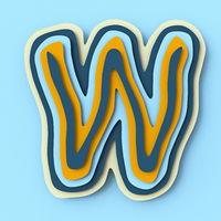 Colorful paper layers font Letter W 3D