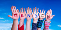 Children Hands Building Word Mensch Means Human, Blue Sky