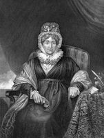 Hannah More (1745-1833) on engraving from 1873.  English religious writer and philanthropist. Engraved by unknown artist and published in ''Portrait Gallery of Eminent Men and Women with Biographies''