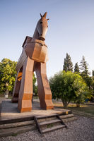Model of the Trojan Horse located in Troy, Turkey