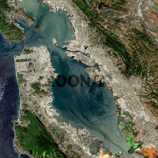 satellite image of San Francisco Bay Area, USA