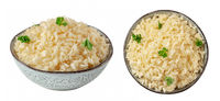 Rice set. Rice, cooked, in a bowl with fresh parsley leaves, isolated on a white background