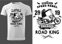 White T-shirt Design with Motorcyclist and Inscriptions