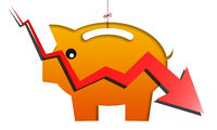 Recession concept with red arrow hitting piggy bank