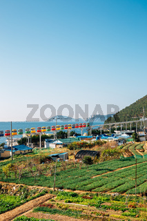View of Cheongsapo village and blue ocean in Busan, Korea